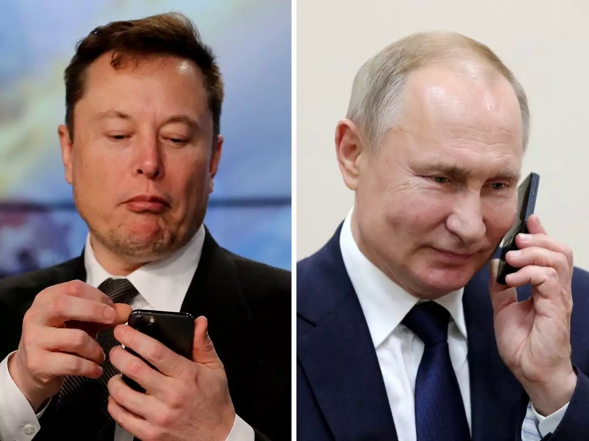Elon Musk (trái) và Tổng thống Nga Vladimir Putin (phải). Ảnh: Economic Times.