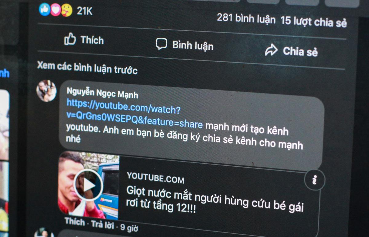 Một tài khoản Facebook mạo danh, lập kênh YouTube để câu view ngay trong bài viết chính chủ của Nguyễn Ngọc Mạnh.