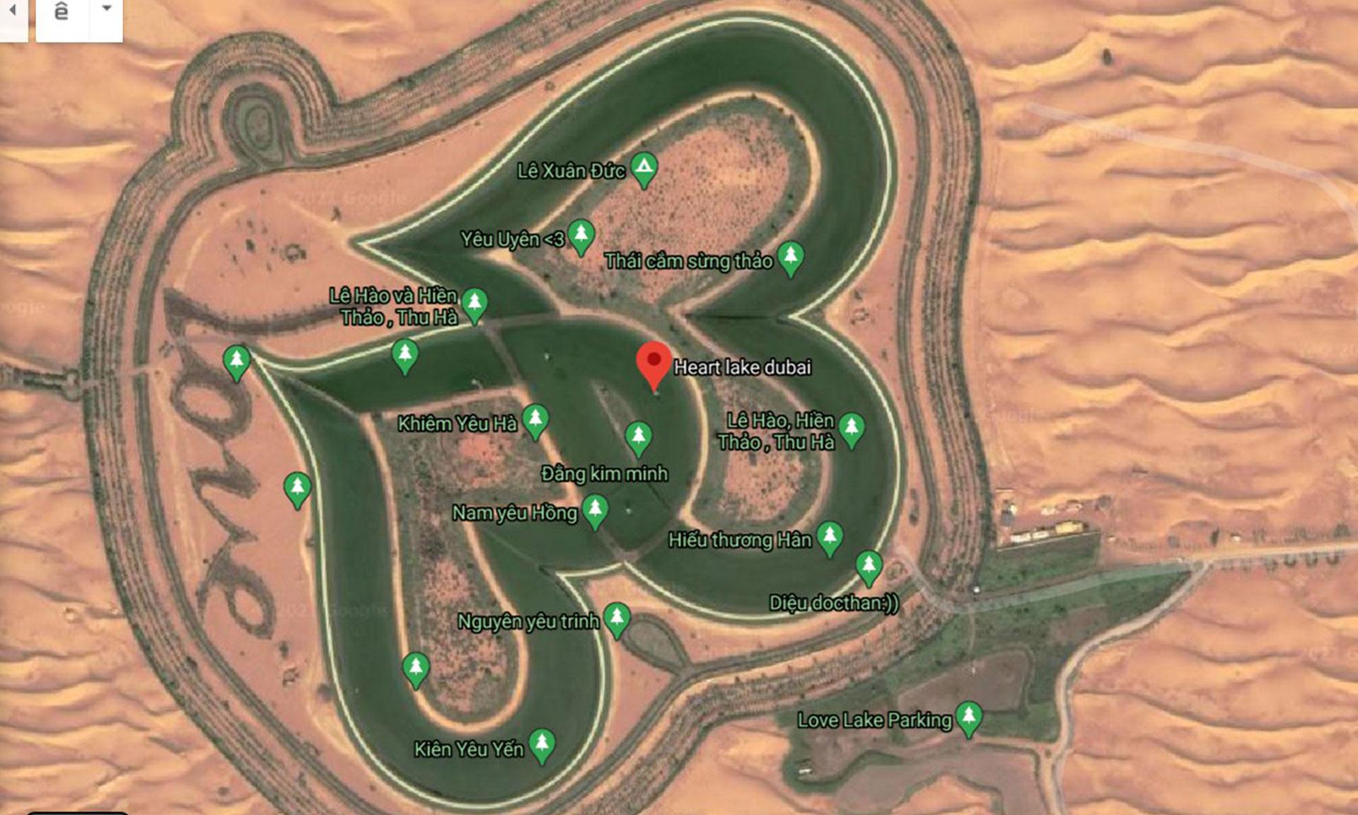 Nhiều người Việt lợi dụng tính năng thêm địa điểm của Google Maps để check-in sống ảo quanh khu vực Love Lake của Dubai.