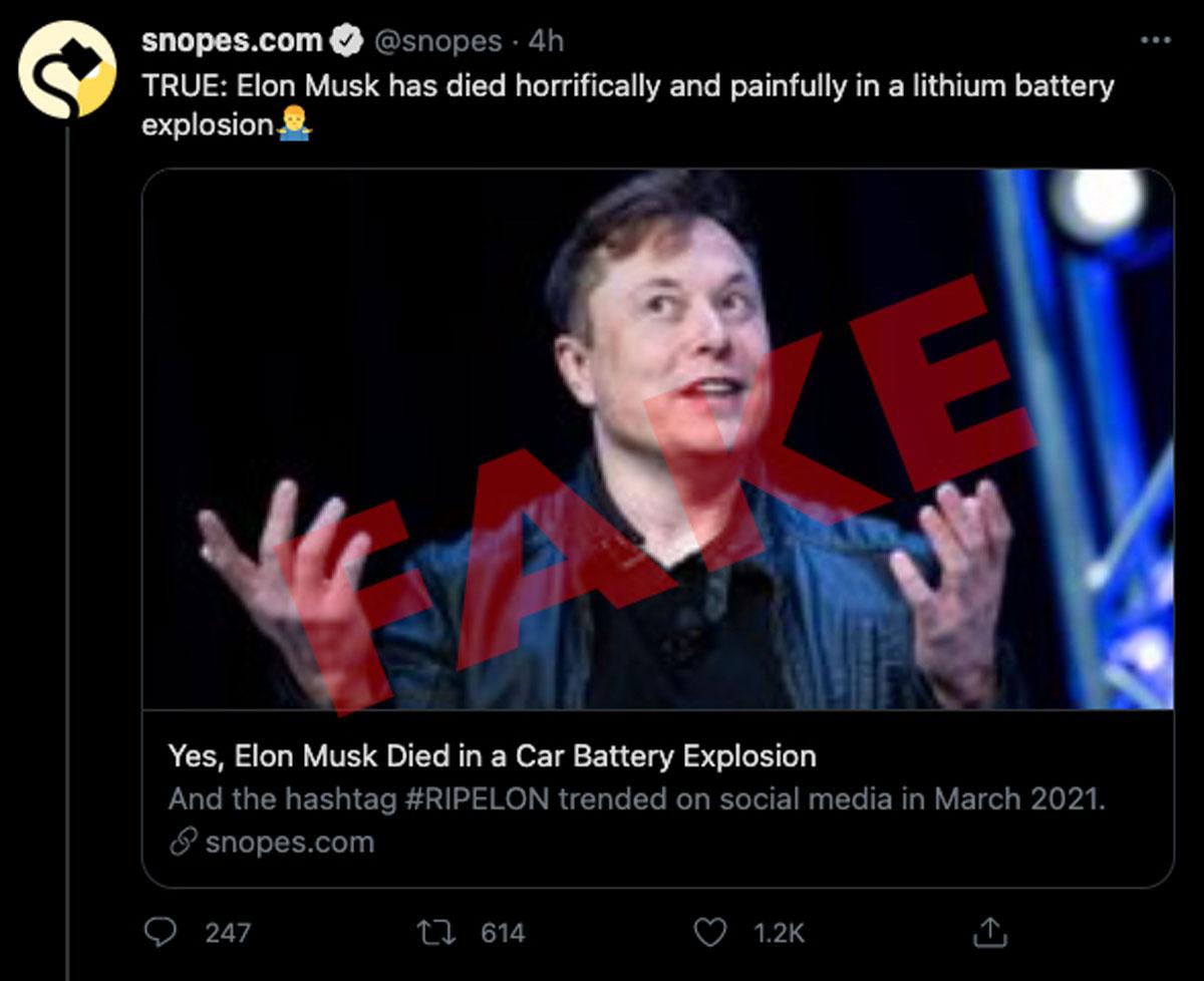 Tin giả Elon Musk qua đời trong một vụ nổ pin ở nhà máy Tesla lan truyền khắp các mạng xã hội.