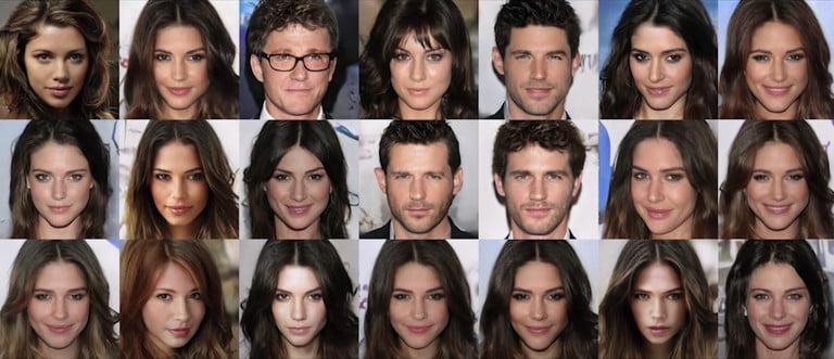 Những khuôn mặt không có thực được tạo ra từ các đặc điểm của người nổi tiếng.