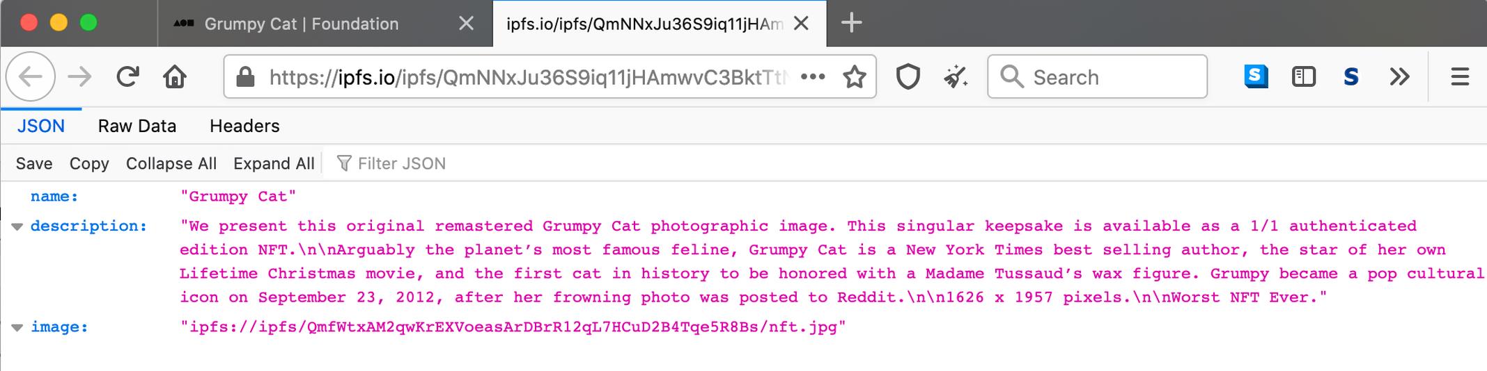 Thứ mà người mua nhận được sau khi chi 77.000 USD để mua NFT tên Grumpy Cat. Đây vốn là một bức ảnh một chú mèo. Ảnh: Mashable