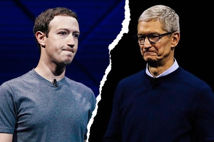 Mark Zuckerberg (trái) và Tim Cook thường xuyên đối đầu. Ảnh:Slate.