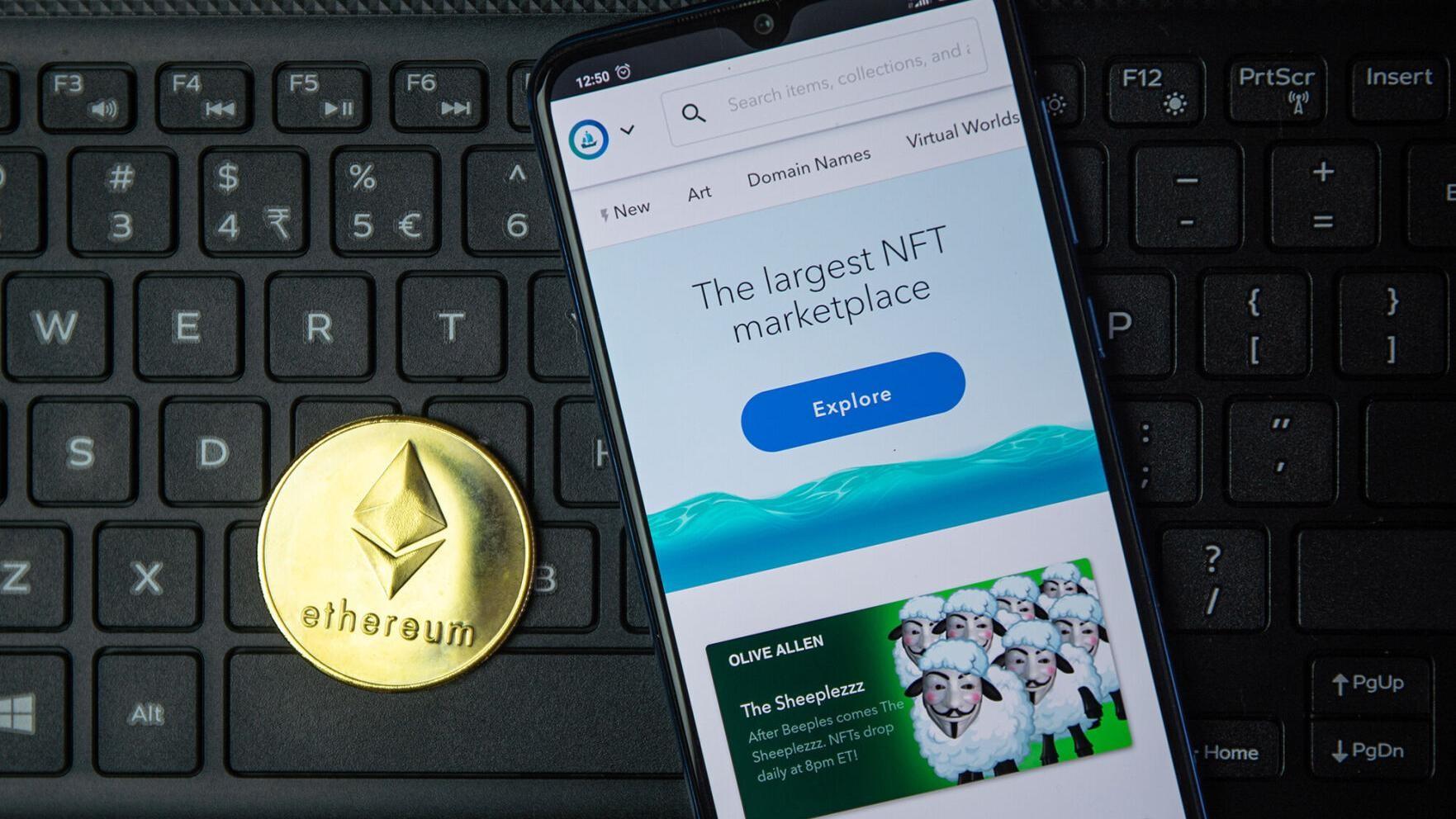 OpenSea là nền tảng mua bán NFT bằng đồng Ether phổ biến nhất hiện nay. Ảnh: Forbes.
