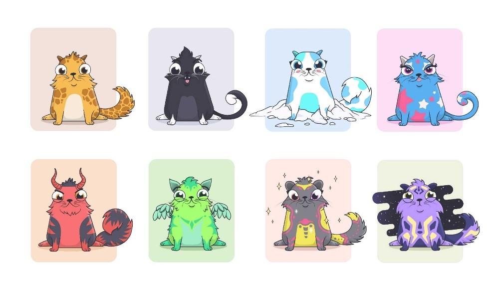 Game nuôi mèo ảo CryptoKitties thu về doanh thu hơn 12 triệu USD năm 2017. Ảnh: CryptoKitties.