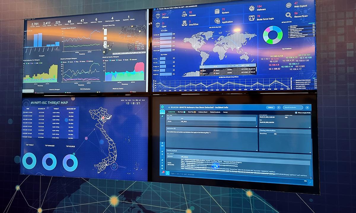 Bảng điều khiển của một hệ thống giám sát an toàn thông tin. Ảnh: Lưu Quý