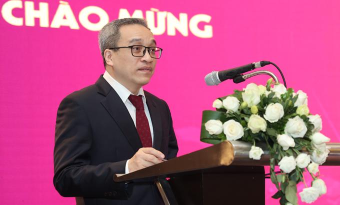 Thứ trưởng Bộ Thông tin và Truyền thông Phan Tâm phát biểu trong hội thảo World Mobile Broadband & ICT ngày 25/3 tại Hà Nội. Ảnh: Minh Sơn.