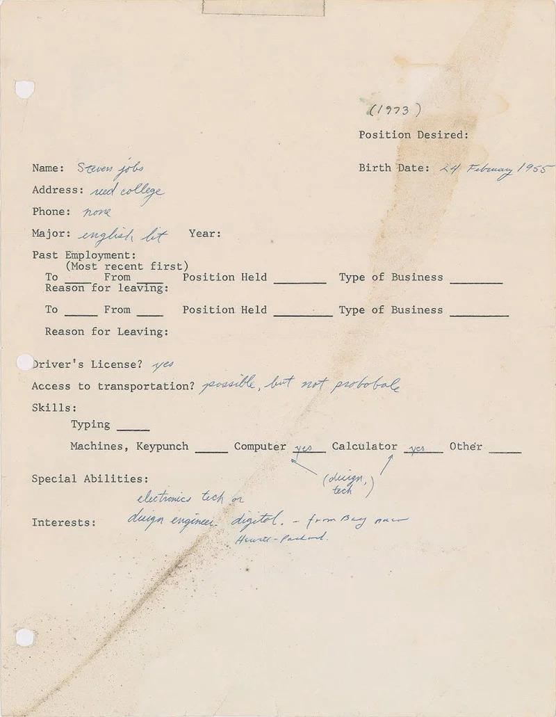 Lá đơn xin việc do Steve Jobs viết.