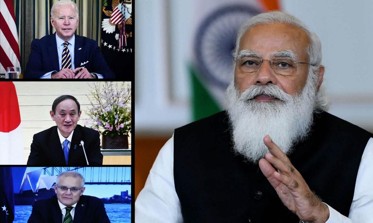 Thủ tướng Ấn Độ Narendra Modi (phải) trong hội nghị thượng đỉnh nhóm Bộ Tứ. Ảnh: AP.