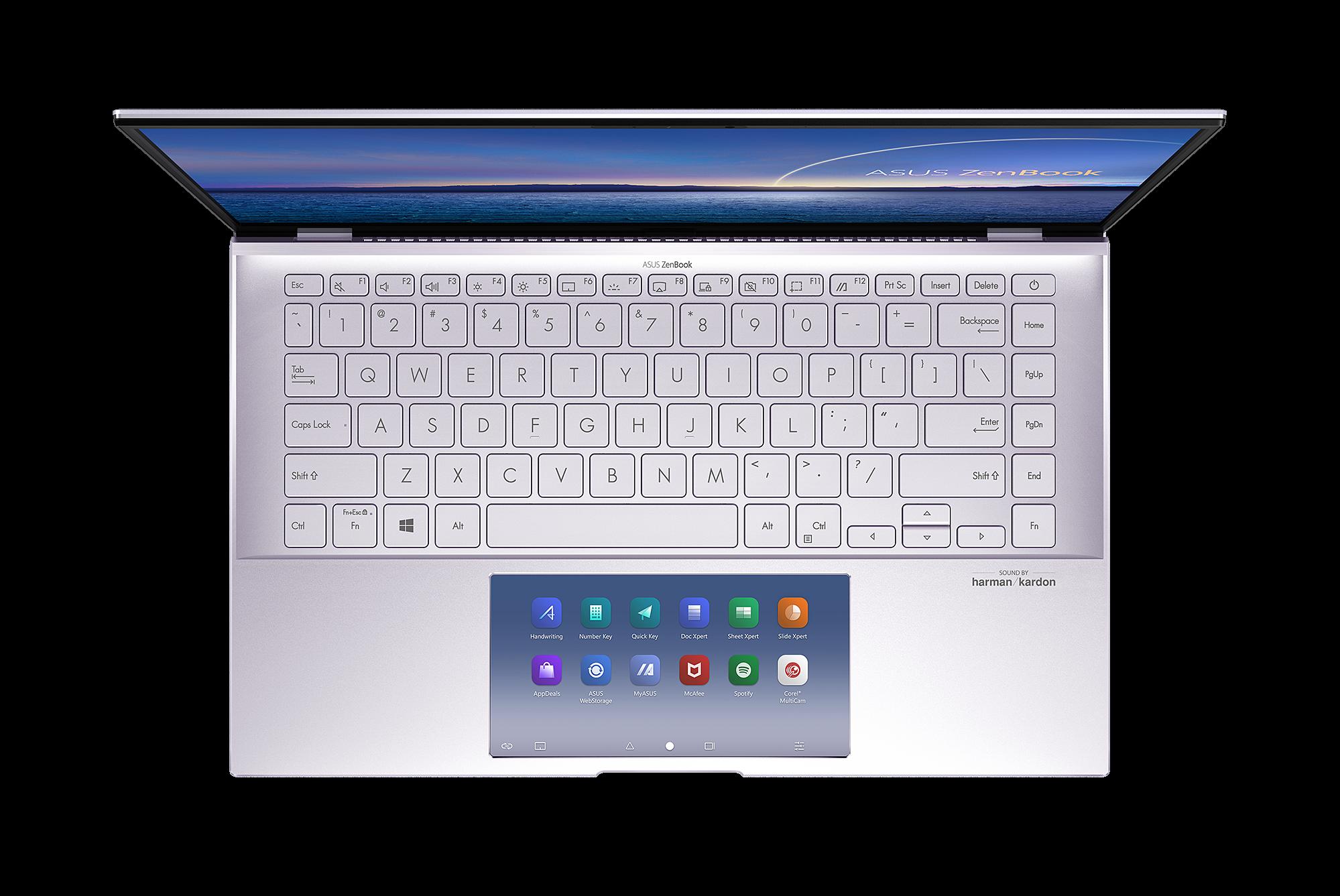 ZenBook 14 UX435 trang bị màn hình phụ ScreenPad với giao diện trực quan tương tự như smartphone.