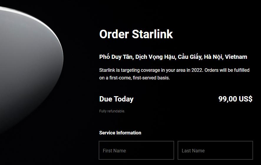 Thử đặt địa chỉ tại Cầu Giấy (Hà Nội), Starlink thông báo đặt mục tiêu phủ sóng tại đây vào 2022.