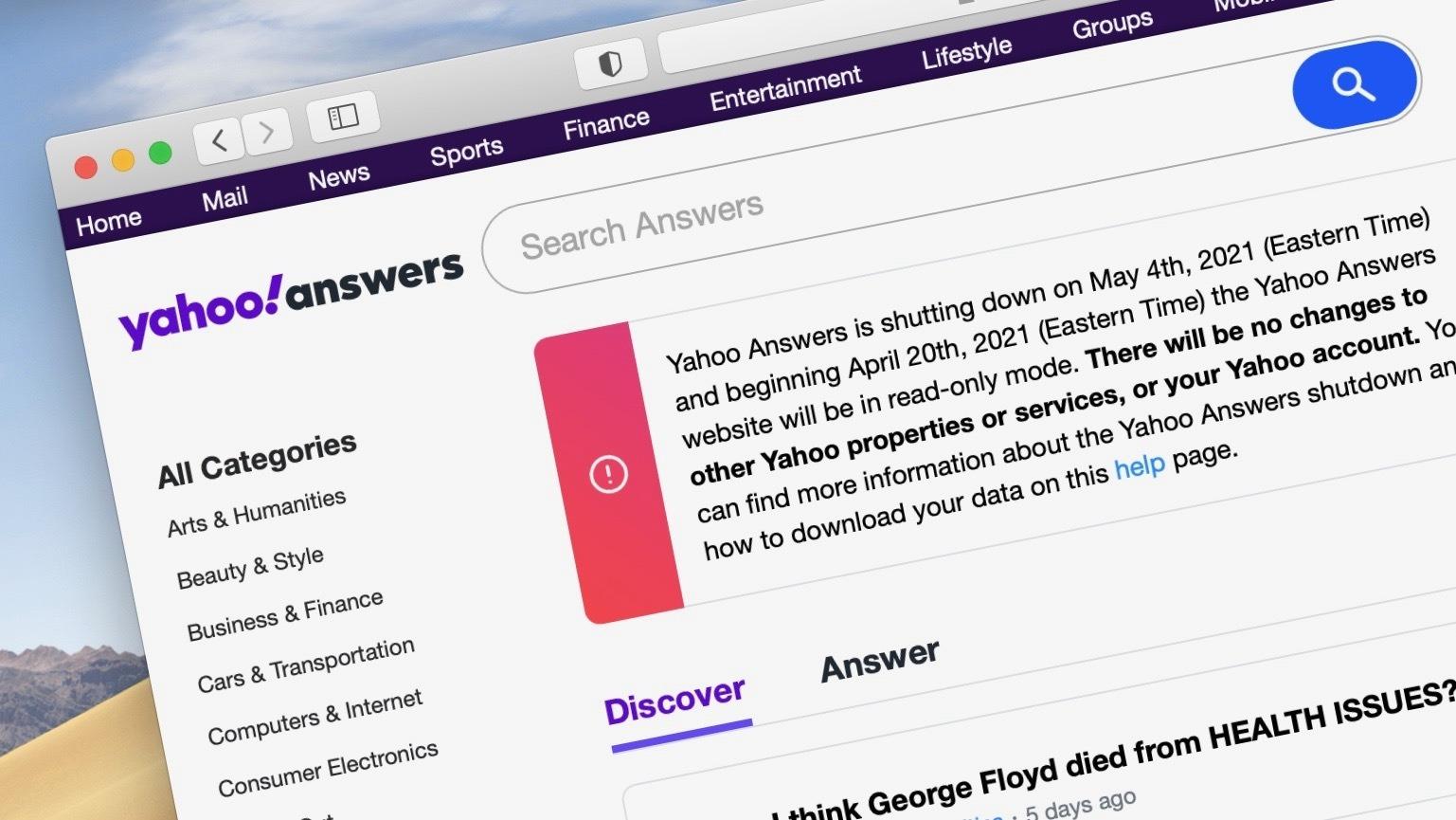 Thông báo ngừng hoạt động của Yahoo Answers.