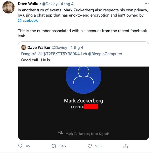 Số điện thoại của Mark Zuckerberg được Walker đăng trên Twitter.