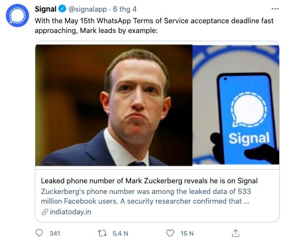 Phản ứng của Signal khi biết số điện thoại của Mark Zuckerberg được dùng để đăng ký ứng dụng của mình.