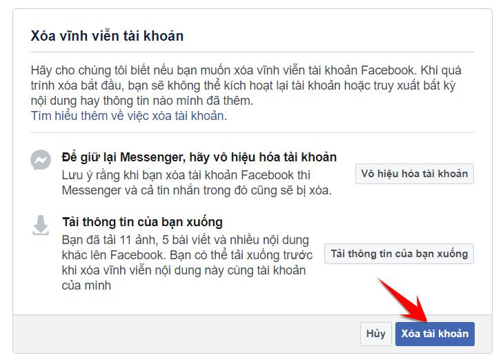 Hướng dẫn xóa hoàn toàn tài khoản Facebook