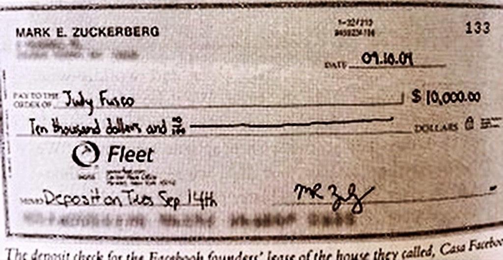 Tấm séc được Zuckerberg viết cho Fusco. Ảnh: NY Post.