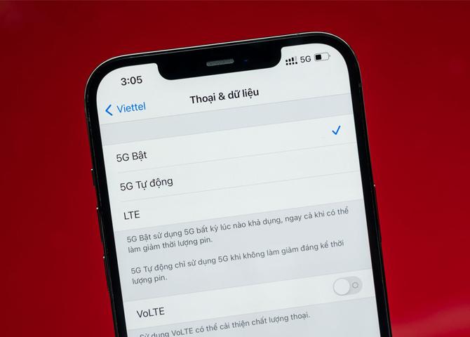 Tùy chọn mạng 5G chính thức có trên iPhone 12 thông qua bản cập nhật iOS 14.5. Ảnh: Đinh Đức Dũng