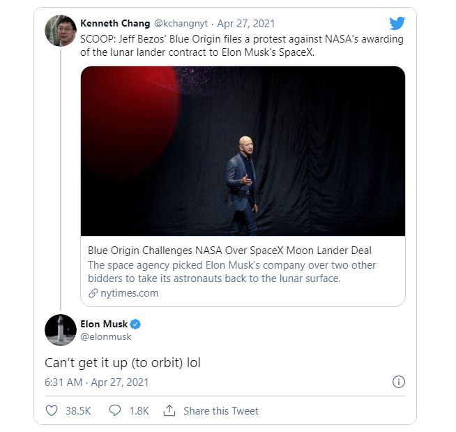 Phản hồi của Elon Musk trước thông tin Blue Origin của Jeff Bezos phản đối hợp đồng giữa SpaceX với NASA.