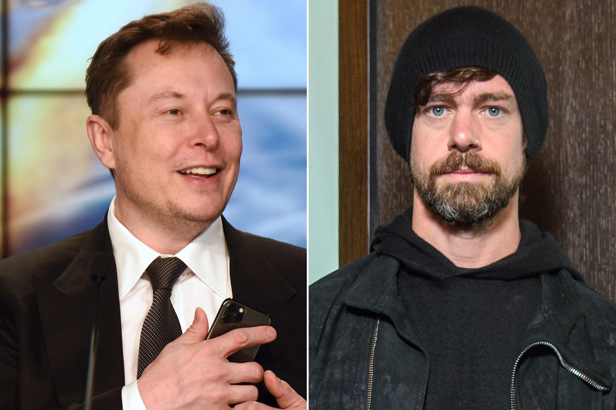 Elon Musk (trái) và Jack Dorsey (phải) là những tỷ phú ủng hộ Bitcoin và tiền ảo. Ảnh: NYPost.