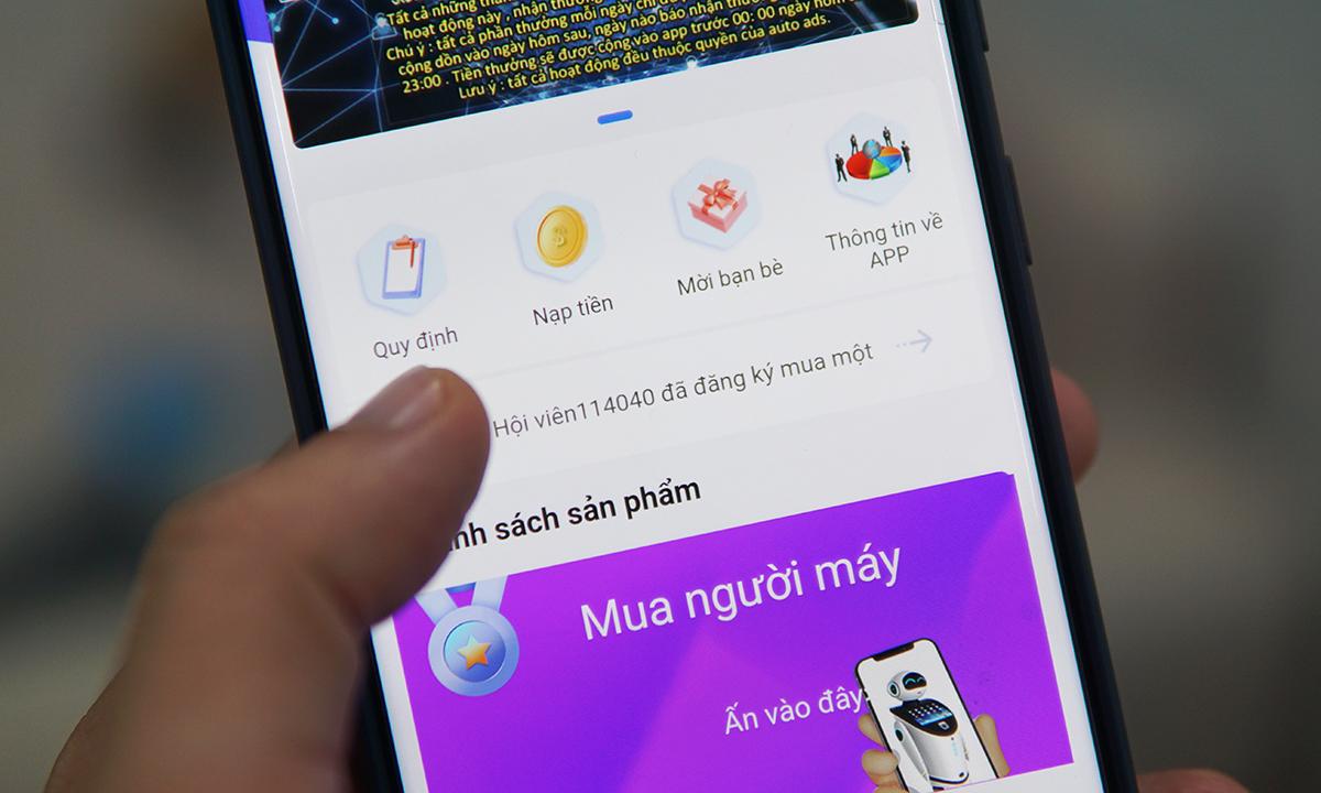 Một app hứa hẹn nạp tiền và hưởng lãi cao, được nhiều người đầu tư.