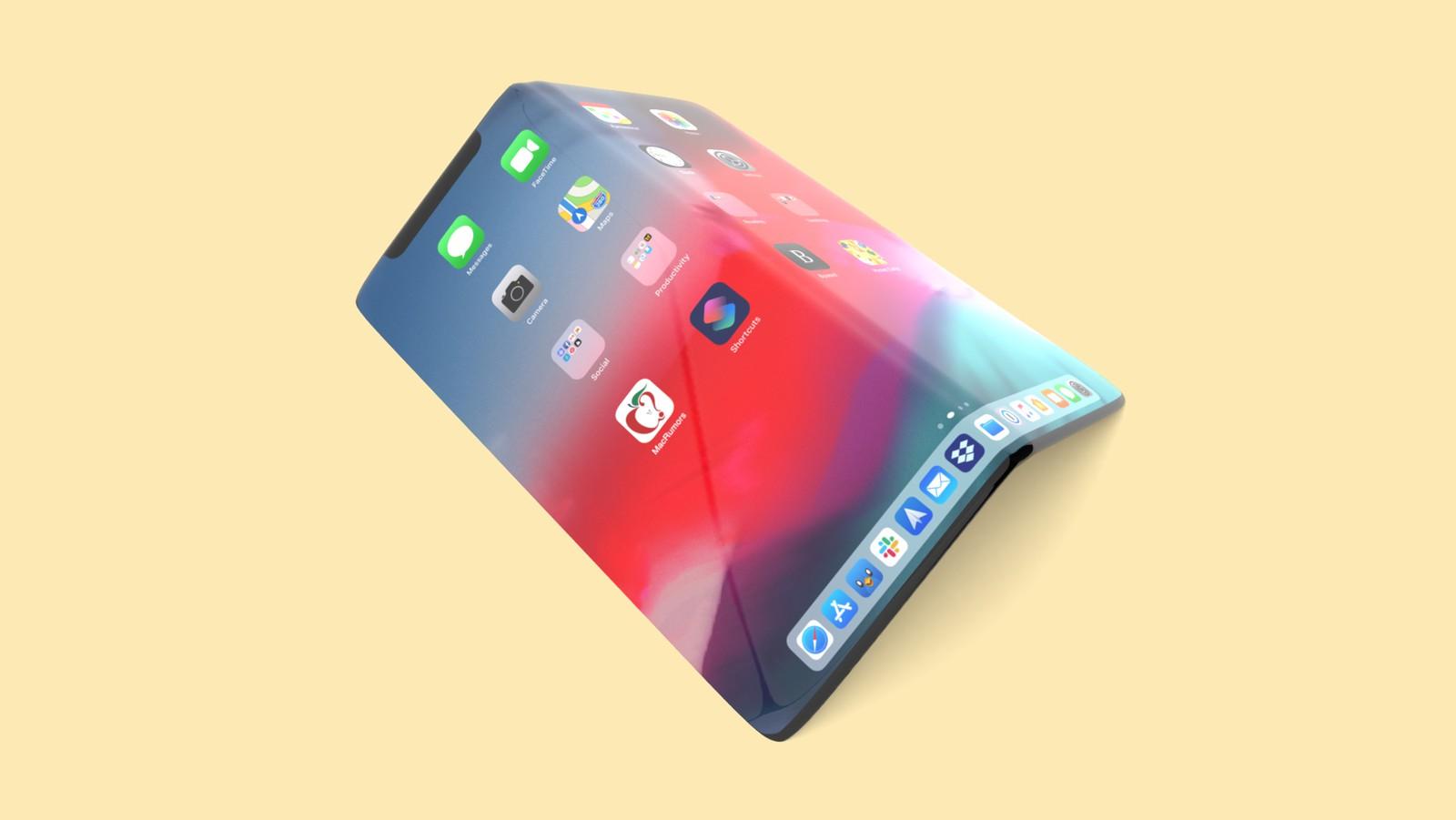 Mẫu thiết kế giả lập của iPhone màn hình gập ra mắt 2023. Ảnh: Macrumors