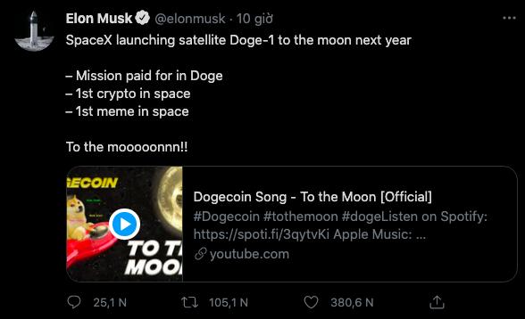 Elon Musk nói về việc phóng vệ tinh Doge-1 lên Mặt trăng trên Twitter.
