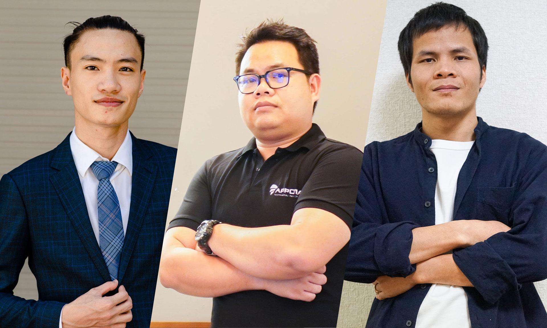 Từ trái qua phải, ba lãnh đạo công nghệ trẻ sẽ tham gia CTO Talks ngày 14/5 là Nguyễn Anh Tài, Nguyễn Văn Vũ và Nguyễn Trí Dũng.