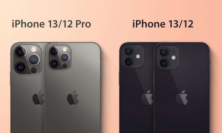 Phác họa so sánh iPhone 13 và iPhone 12 được công bố hôm 11/5. Ảnh: Mac Rumors.