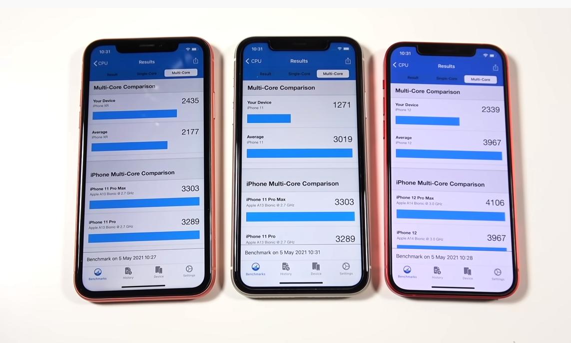 iOS 14.5.1 khiến hiệu năng của iPhone 12 (phải) và iPhone 11 (giữa) thấp hơn cả iPhone XR (trái) khi chấm điểm bằng GeekBench. Ảnh: Nick Ackerman