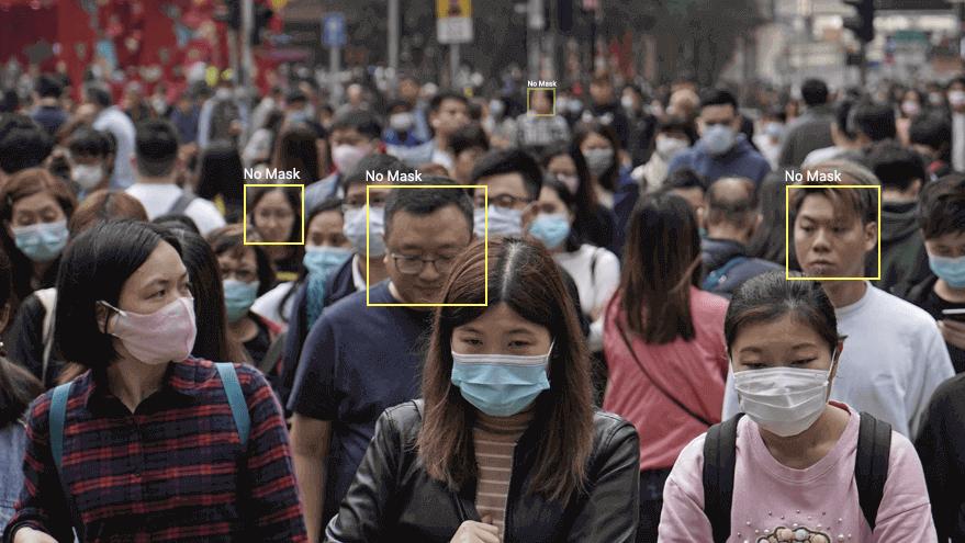 Công nghệ phát hiện người không đeo khẩu trang trong đám đông. Ảnh: LeewayHertz.