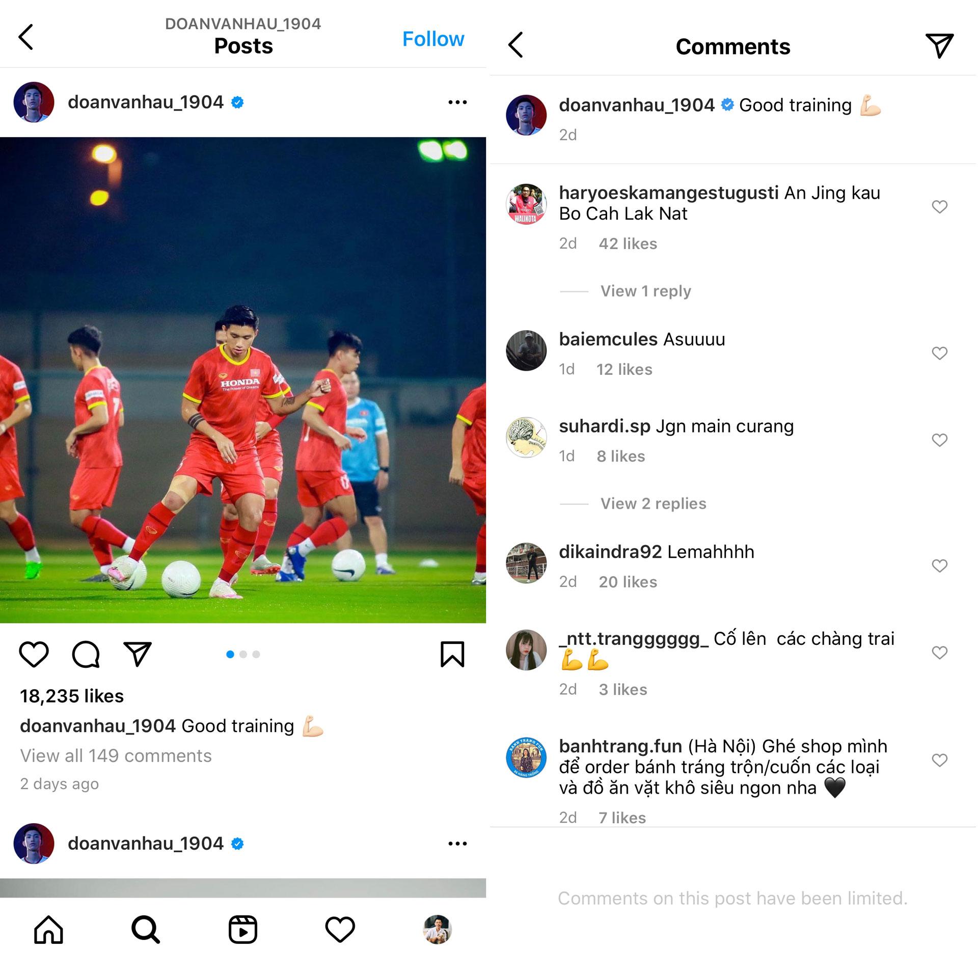 Cổ động viên Indonesia tràn vào Instagram cá nhân của Đoàn Văn Hậu để chỉ trích khiến tài khoản phải tạm đóng chức năng bình luận.