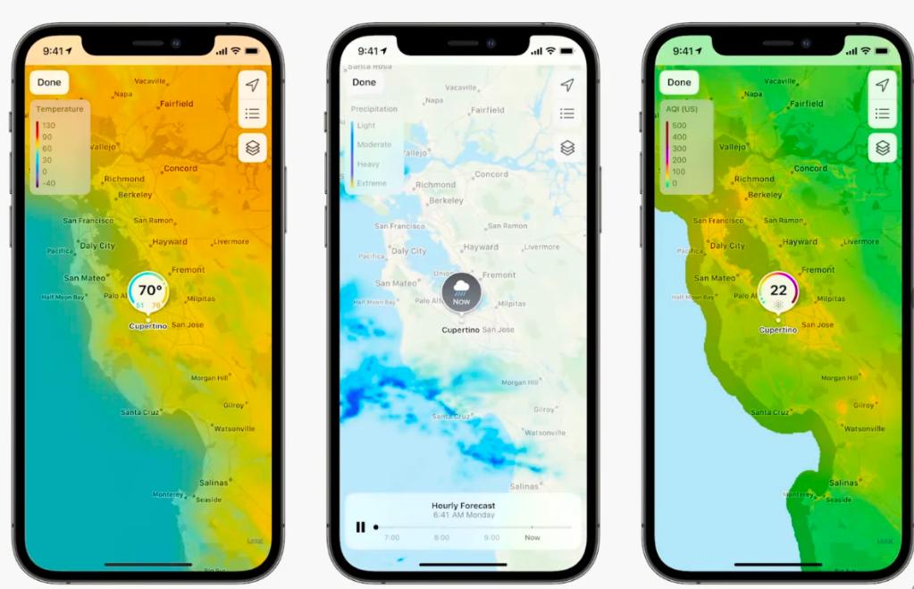 Ứng dụng Thời tiết trên iOS 15 trực quan hơn. Ảnh: Apple.