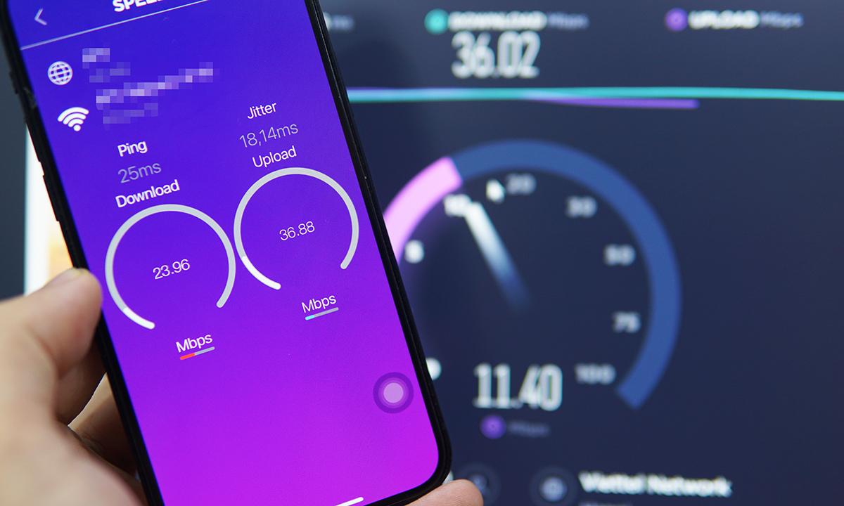 Tốc độ Internet đo vào chiều ngày 8/6 tại Hà Nội. Ảnh: Lưu Quý