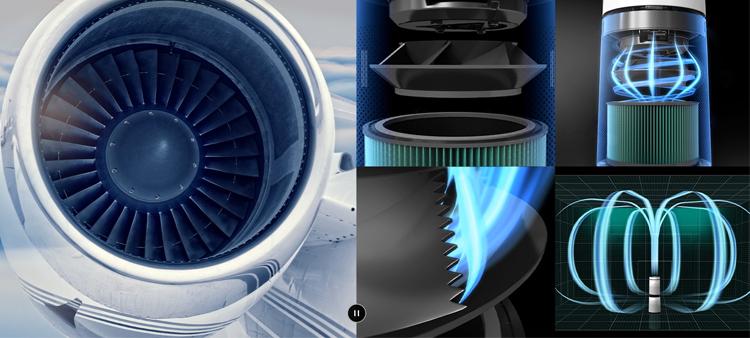 Cơ cấu quạt mô phỏng động cơ máy bay của Puricare 360 bản mới.