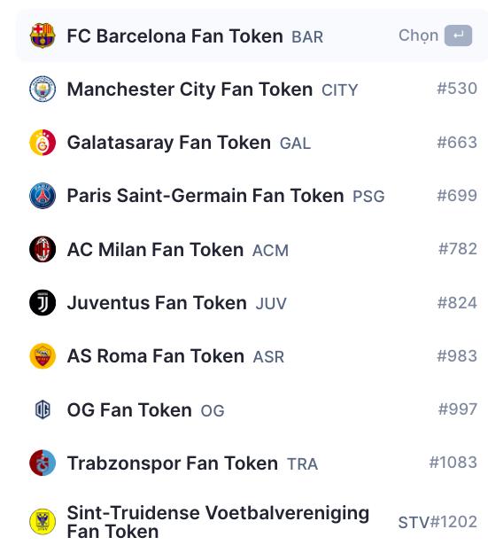 Một số mã fan token trên thị trường tiền điện tử.