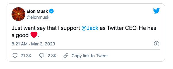 Elon Musk động viên Jack Dorsey trên Twitter.