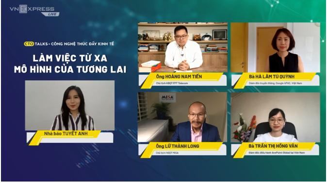Ông Lữ Thành Long thảo luận cùng đại diện FPT Telecom, Google và AvePoint Global tại tọa đàm