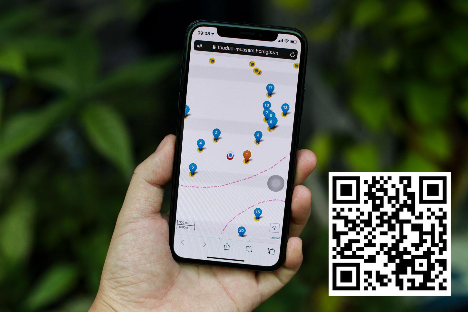 Người dân có thể truy cập đường link hoặc quét mã QR (góc phải) để sử dụng bản đồ đi chợ trực tuyến.