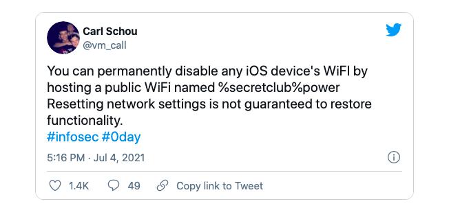 Carl Schou cảnh báo về lỗi mới trên Twitter.