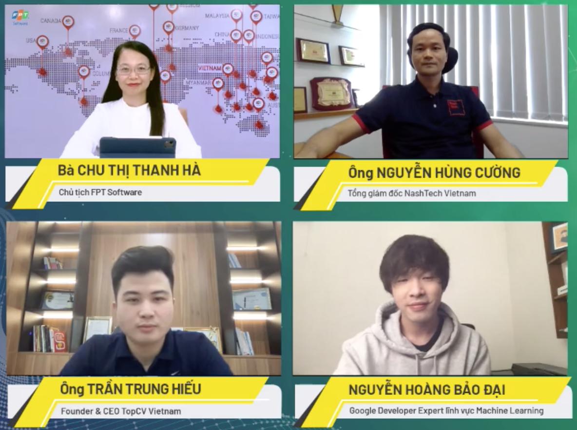 Bốn diễn giả trong CTO Talks ngày 6/7, bàn về mục tiêu lương tháng trăm triệu của kỹ sư IT Việt Nam.