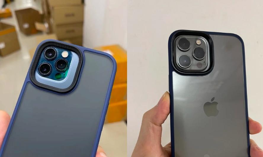 Ảnh ốp lưng được cho là của iPhone 13 Pro khi so với iPhone 12 Pro (ảnh trái) và ốp lưng iPhone 13 Pro Max (ảnh phải) khi so với iPhone 12 Pro Max. Ảnh: UnclePanPan.