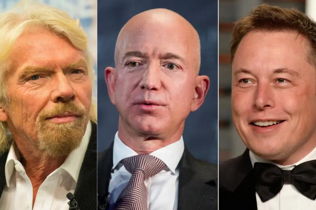 Từ trái qua phải: Richard Branson, Jeff Bezos, Elon Musk.