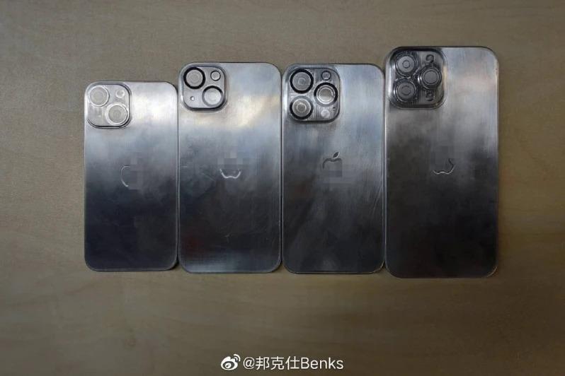 Các mô hình kim loại được cho là của loạt iPhone 13. Ảnh: Benks.