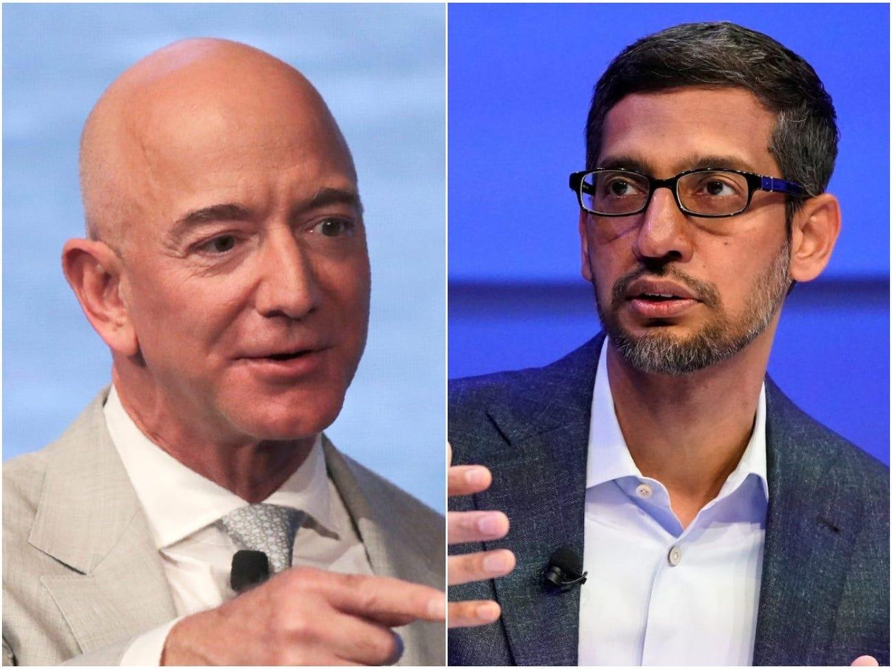 Jeff Bezos (trái) và Sundar Pichai (phải). Ảnh: Reuters.