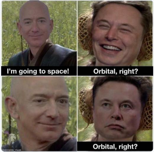 Meme cà khịa chuyến bay sắp tới của tỷ phú Jeff Bezos. Ảnh: Twitter.