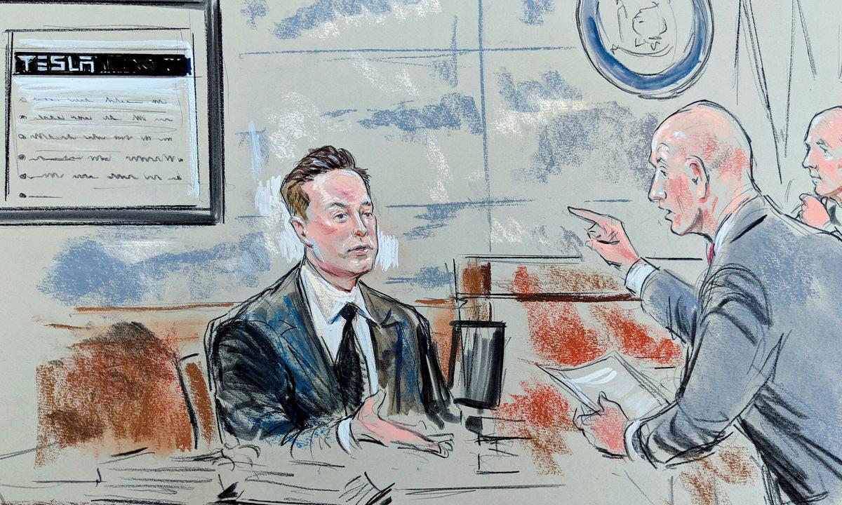 Tranh phác họa Musk biện hộ trước tòa hôm 12/7. Ảnh: Reuters.