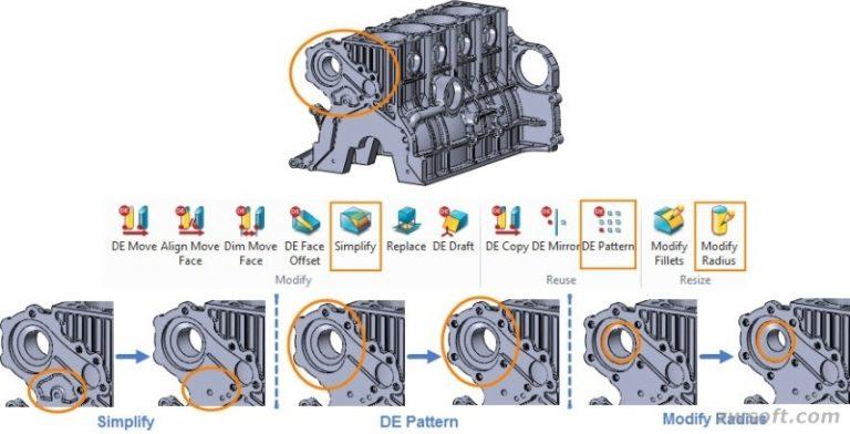 Người dùng có thể thực hiện được nhiều thao tác với mô hình khối động cơ như hủy bỏ feature (simplify), thay thế (replace) và đối xứng (mirror).