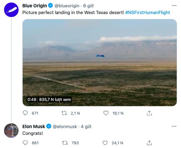 Elon Musk chúc mừng Blue Origin sau khi tàu New Shepard hạ cánh bằng dù.