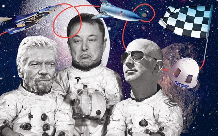 Cùng có mục tiêu chinh phục vũ trụ, nhưng công ty của Richard Branson (trái), Elon Musk (giữa) và Jeff Bezos (phải) không giống nhau. Ảnh: Telegraph.