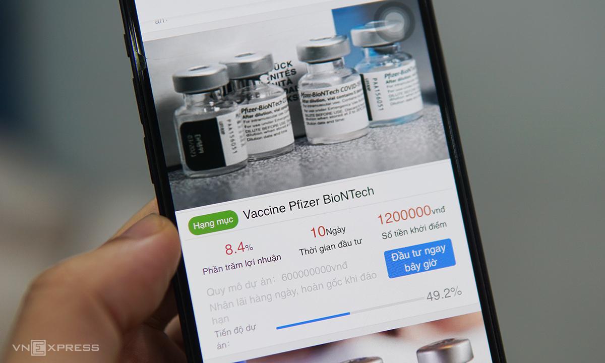 Người dùng được dụ đầu tư vào gói vaccine trên app để thu lời mỗi ngày.